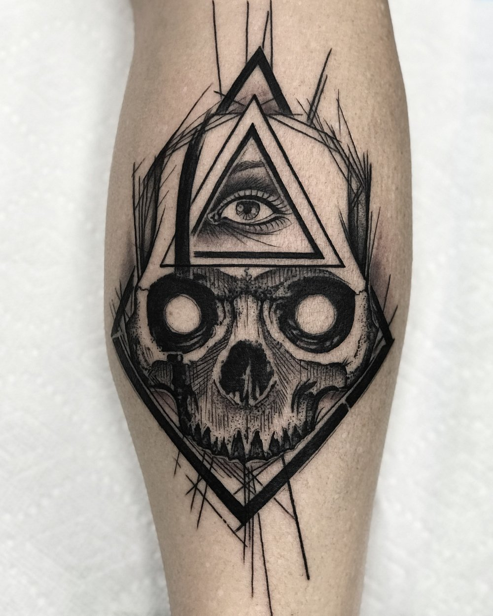 Blackwork Skull Tattoo by David Mushaney