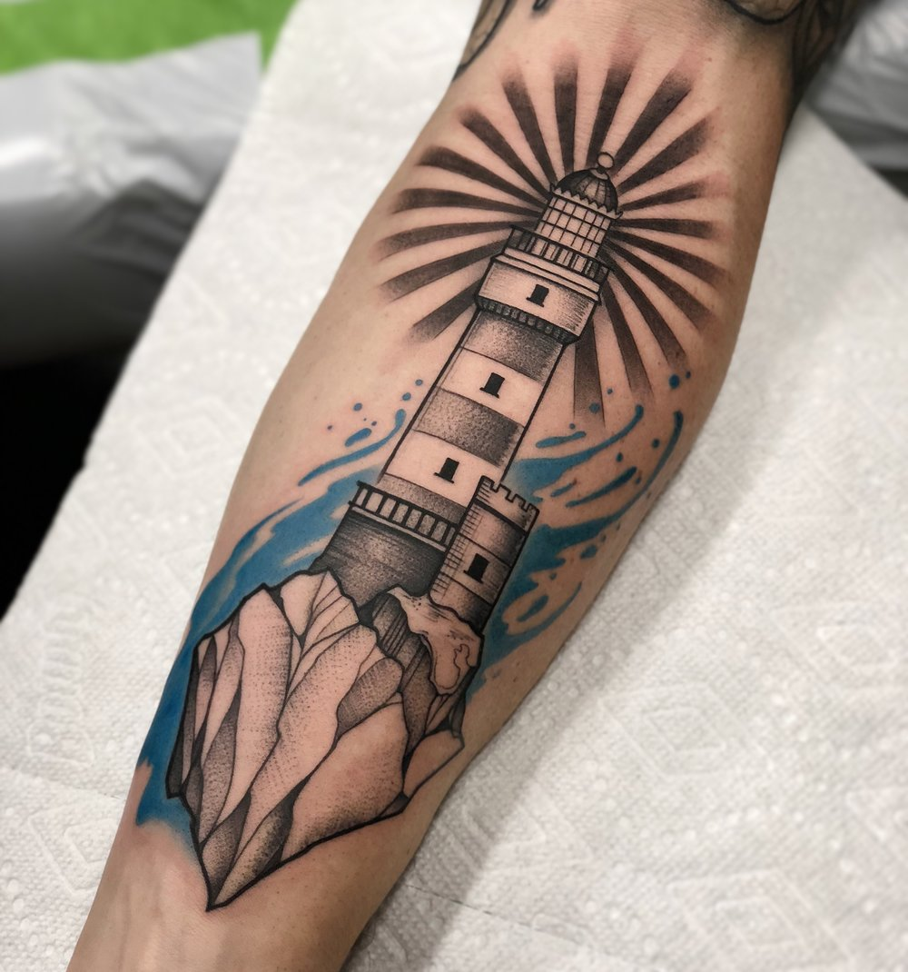 Lighthouse Nautical Tattoo by David Mushaney