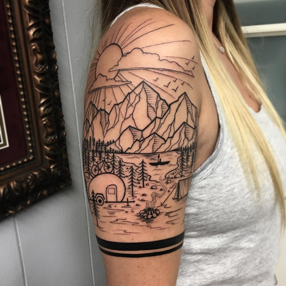 Blackwork Landscape Mountain Nature Tattoo by David Mushaney