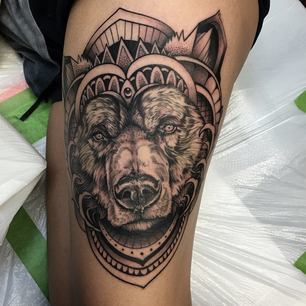 Ornate Bear Tattoo by David Mushaney