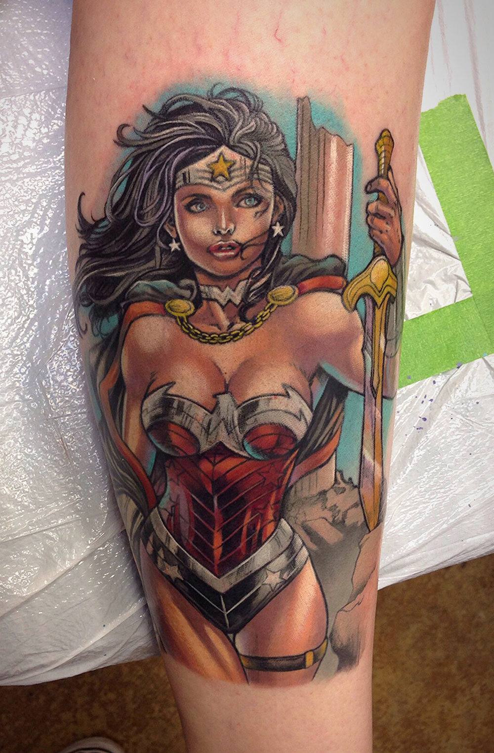 Wonder Woman Comic Book Tattoo by David Mushaney