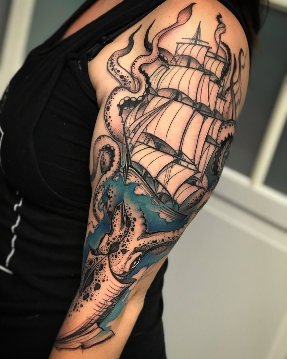 Squid and Ship Tattoo by David Mushaney