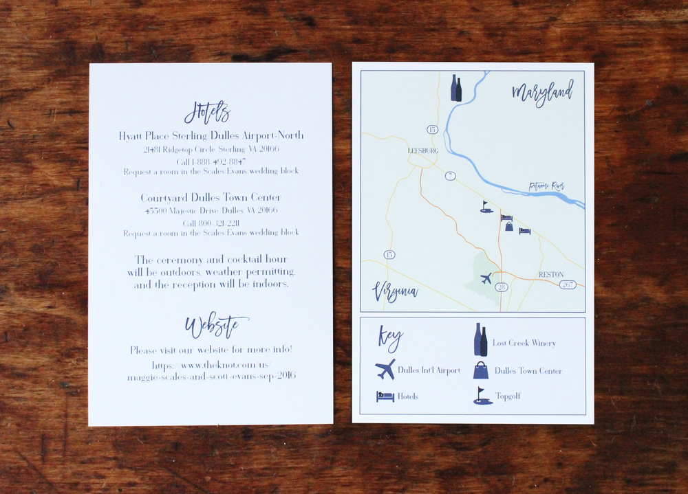 maggie & scott | information card  (including customized map)