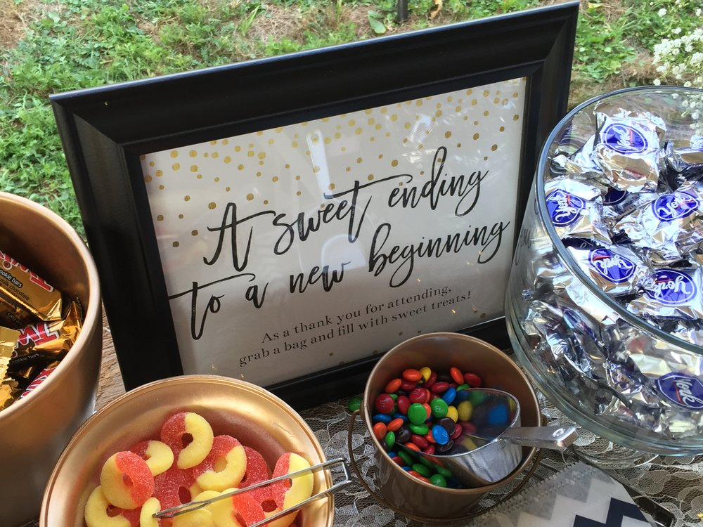jen & carson | dessert table sign
