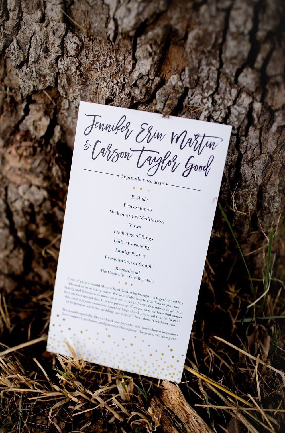 jen & carson | program   photo credit: onethirtynine photography