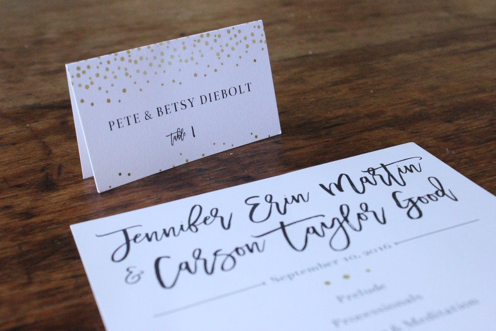 jen & carson | program & place card