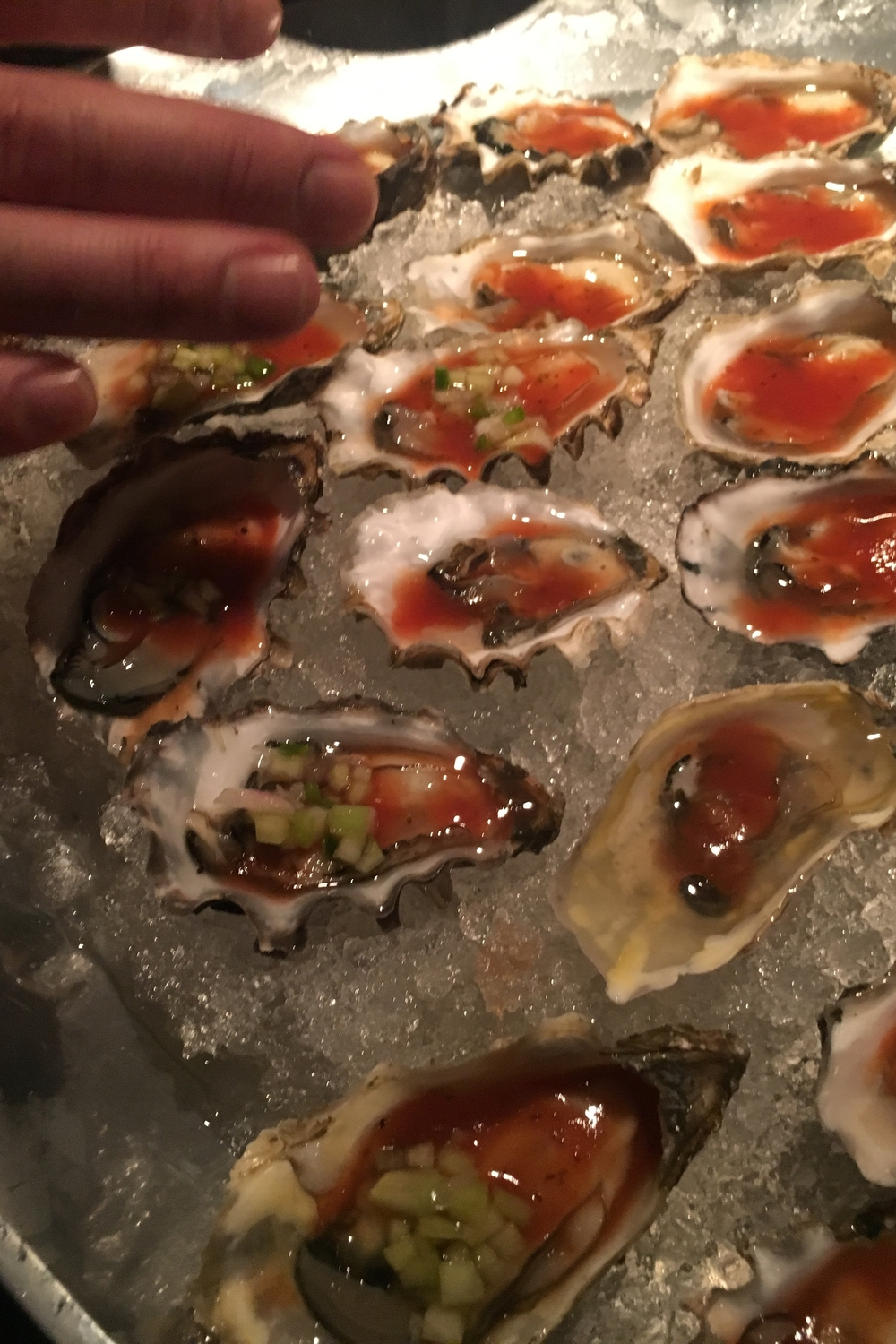 Bloody Mary hood canal oysters,  cucumber,  mignonette