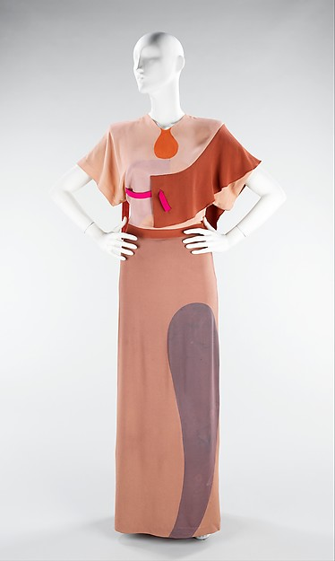 Gilbert Adrian.  Shades of Picasso , dinner dress, 1944-45