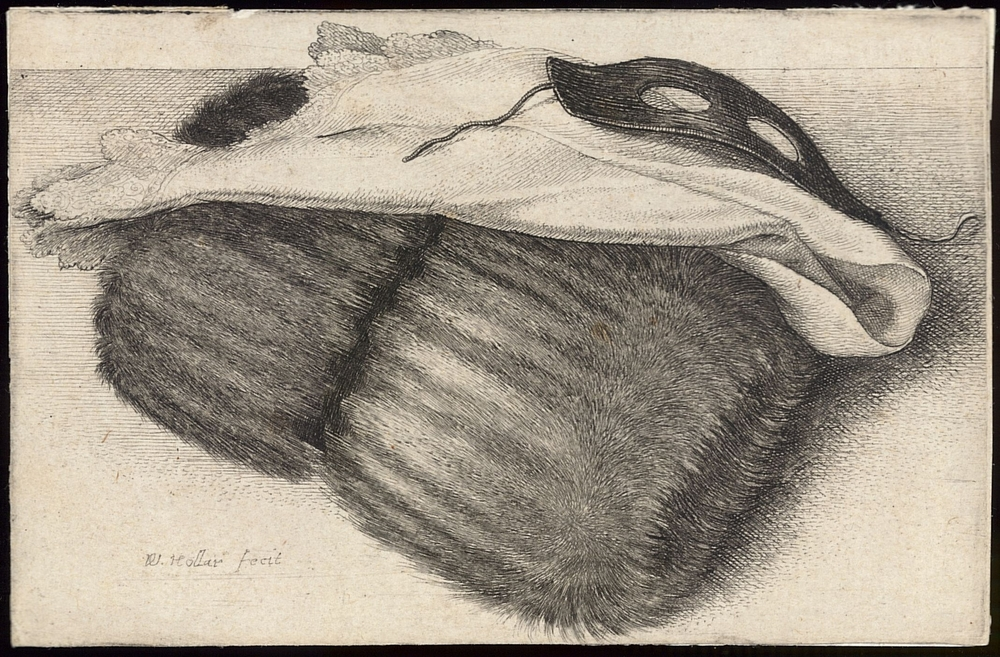 Wenceslaus Hollar.  Muff, White Kerchief, and Black Half Mask , 1642