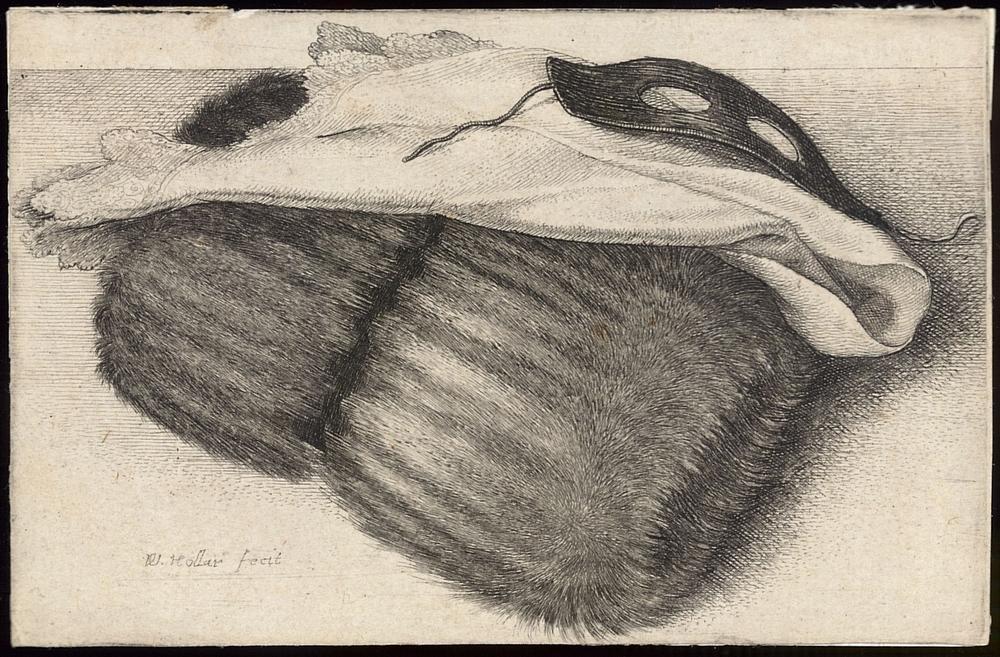 Wenceslaus Hollar.  Muff, White Kerchief, and Black Half Mask , 1642