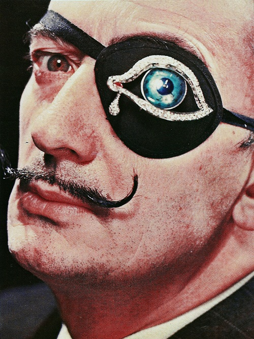 Salvador Dali wearing an eyepatch with  The Eye of Time , c. 1950s