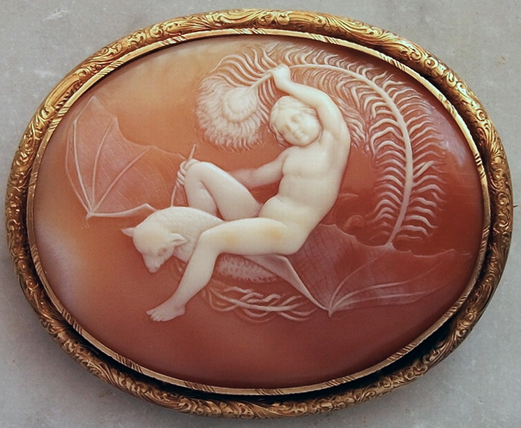 Unknown English maker. Shell cameo brooch, c. 1840