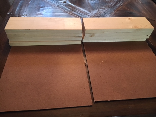 Planks and backer boards cut and ready to assemble