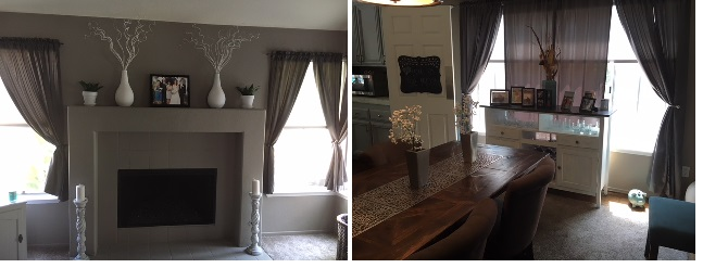 Living room and dining room are directly across from each other. Taupe on main walls and white on either end to help balance the two spaces visually.