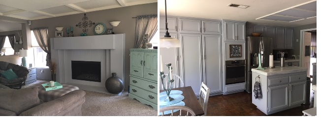 The gray on the fireplace helps bring the gray from the cabinets over into the family room. The green accent piece helps carry that accent color over into this space as well.
