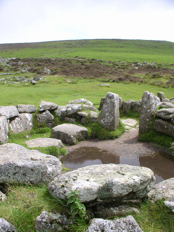 Ruins of a hut in the Bronze Age settlement of Grimspound, Dartmoor (my photo)