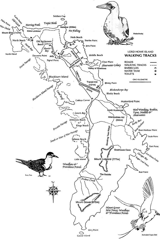 Trail map, Lord Howe Island