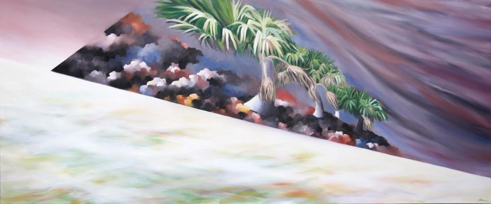island-oil painting-palm tree-sabal-beach
