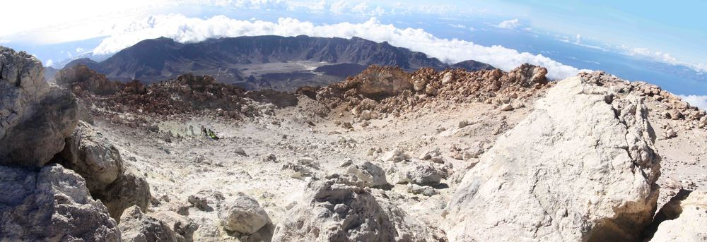 Panoramic of the summit crater from the rim, with the floor and rim of the caldera visible below.  In the center-left of the crater are researchers measuring temperatures. (my photo)