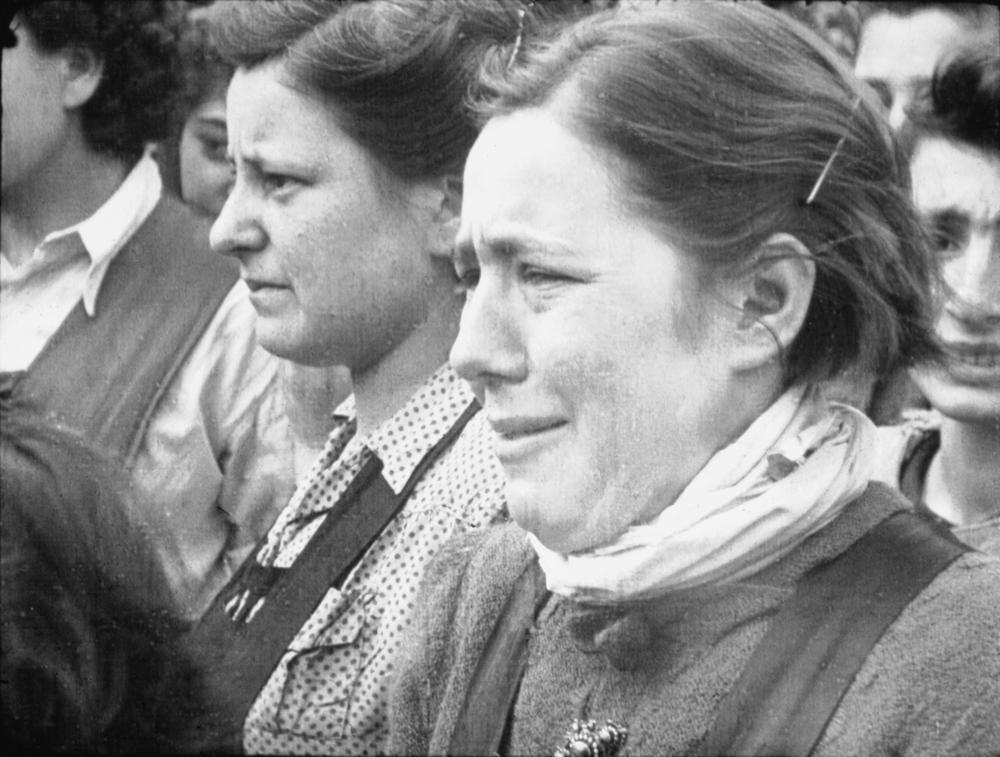 'Reaction of a Girl' taken by Sgt Lewis, 17 April 1945 IWM Film 10012.JPG