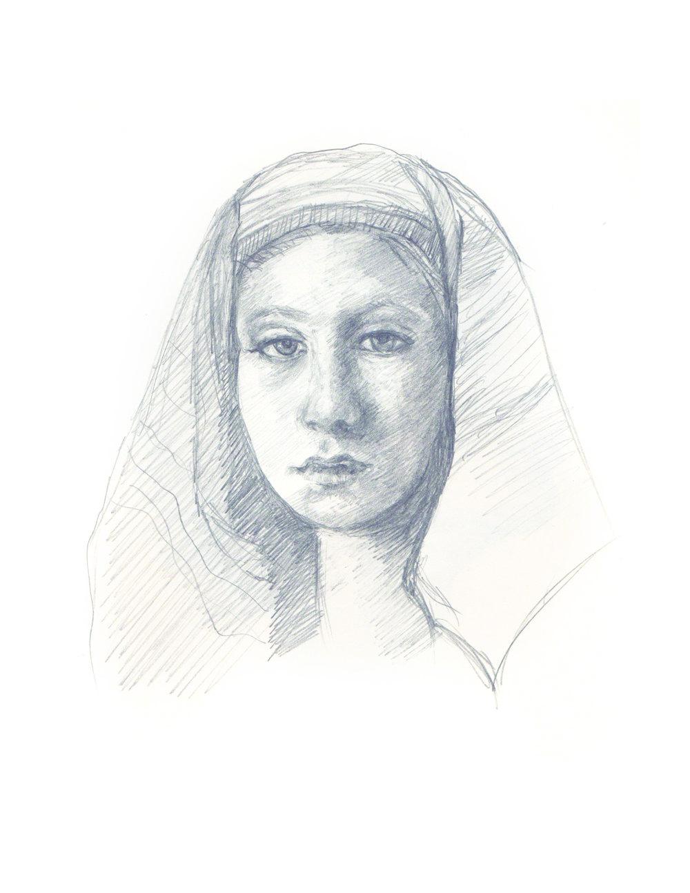 Girl In Head Piece