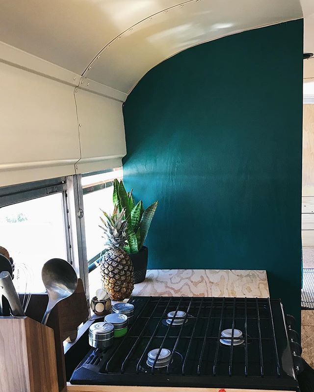 We have one wall painted and I'm so in love with it! 😍😍😍 I love the dark, and I love color! My other bus we did white to help the bus feel bigger, this time we're breaking all the rules! Why? Really it's more like why not! More painting to come. . . . . . . #skooliegeek #skoolie #skoolieconversion #tinyhouse #tinyhousemovemenet #homeiswhereyouparkit #busliving #buslifestyle #buslife #buslifeadventure #buslifemovement #glampimg #camplife #adventuremobile #thatsdarling #livefree #wildandfree #liveauthentic #nomad #nomadic #nomadiclife #NomadicMillers #buswife #buskids #adventureawaits #livingsmall #therollinghome #neverstopexploring #projectvanlife #gorving