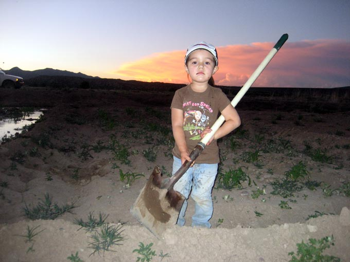 Granddaughter, Miki, age 4, didn't make it to 2010 Market ....she was home irrigating!