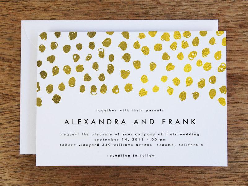 Gold konfetti hochzeitseinladung printable