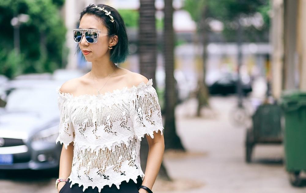 Cold Shoulder White Lace