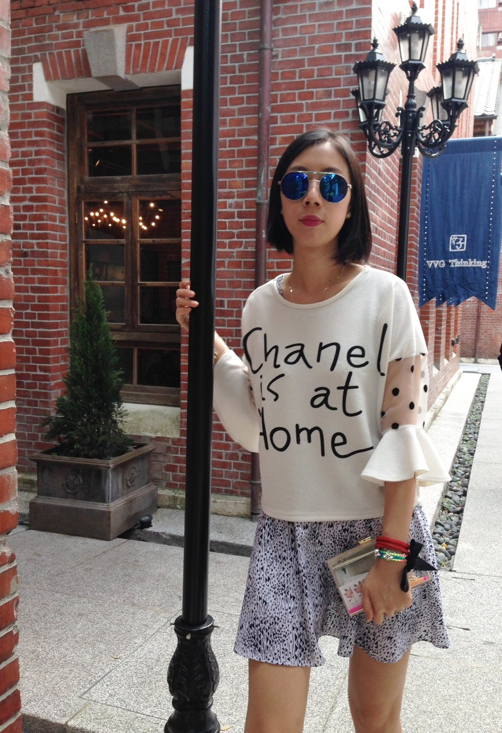 179cmandup - Chanel is not at home white top