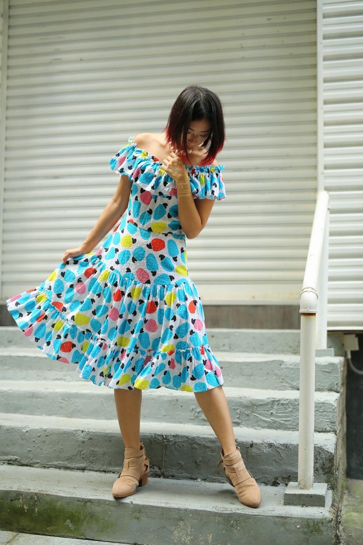 Domingo off the shoulder caju fruit print dress