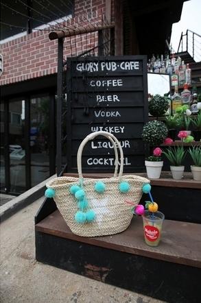 Pastel Green Pompom French Basket Bag