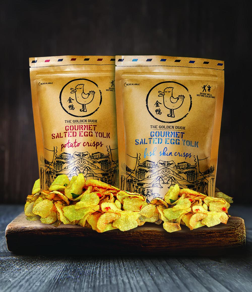 The Golden Duck Gourmet Salted Egg Yolk Potato Crisps® and The Golden Duck Gourmet Salted Egg Yolk Fish Skin Crisps®