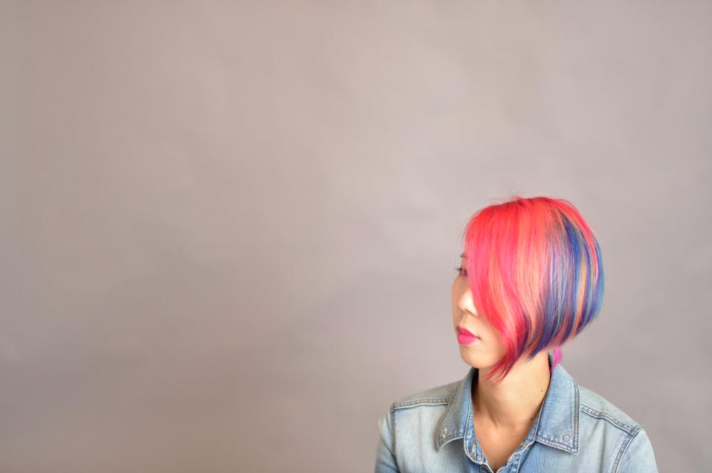 Hayley's rainbow hair