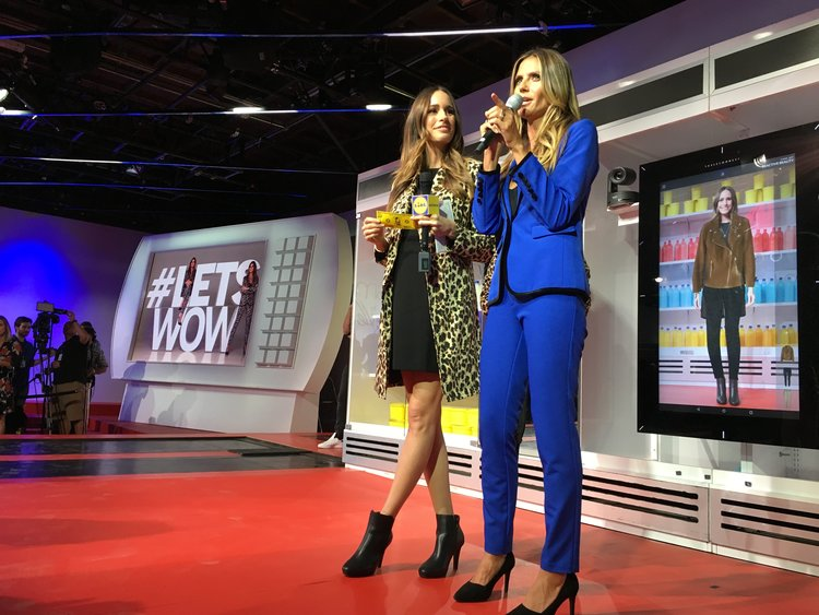 Louise Roe and Heidi Klum with Reactive Reality's Magic Mirror at New York Fashion Week