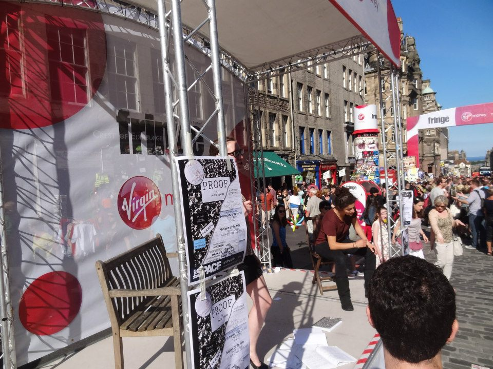 "Advertising for ""Proof"" on the Royal Mile, at the 2012 Edinburgh Fringe Festival."
