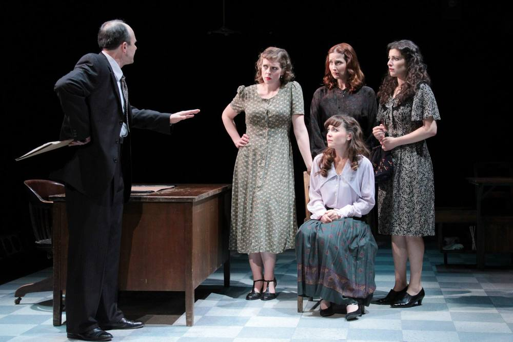 """These Shining Lives""  (Stoneham Theatre, Boston) Directed by Caitlin Lowans  Mr. Reed (Allan Mayo), Charlotte (Kathryn Lynch), Catherine (McCaela Donovan), Frances (Dakota Shepard) and Pearl (Melis Aker)"