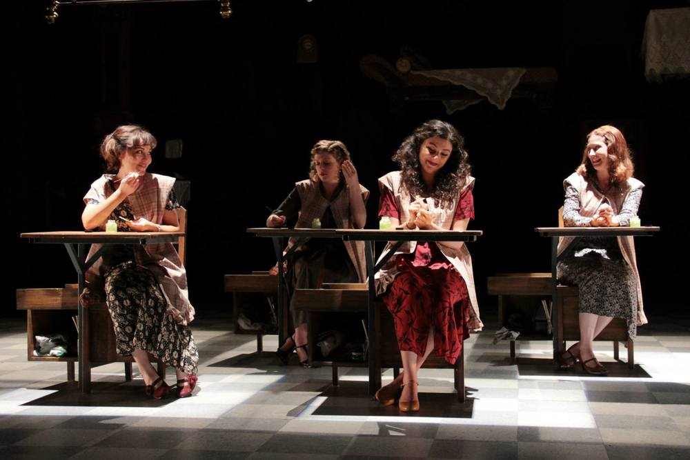 """These Shining Lives""  (Stoneham Theatre, Boston) Directed by Caitlin Lowans  Catherine (McCaela Donovan), Charlotte (Kathryn Lynch), Pearl (Melis Aker), and Frances (Dakota Shepard)"