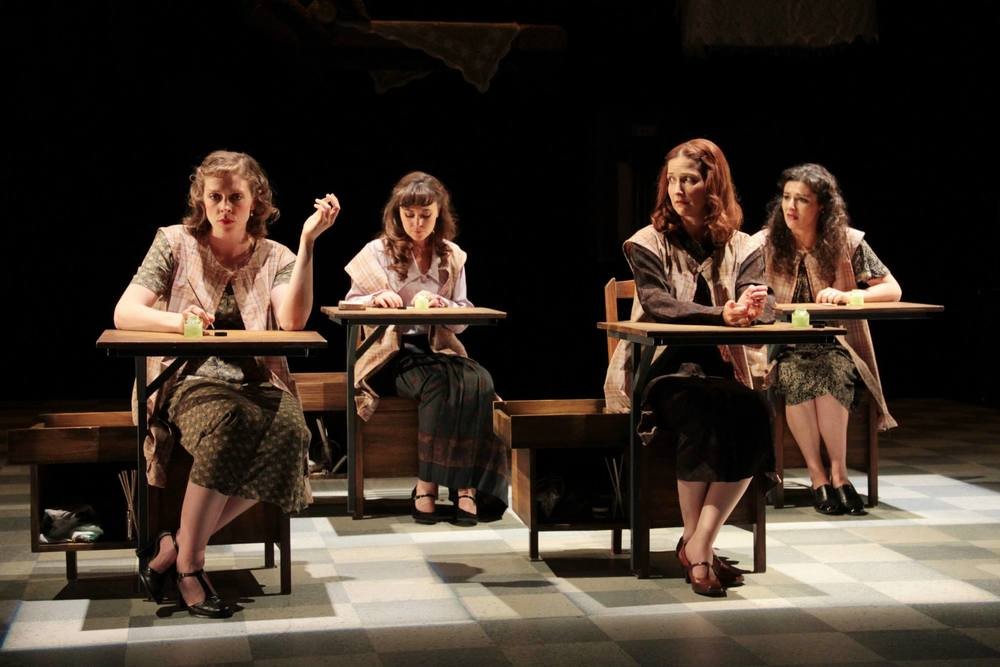 """These Shining Lives""  (Stoneham Theatre, Boston) Directed by Caitlin Lowans  Charlotte (Kathryn Lynch), Catherine (McCaela Donovan), Frances (Dakota Shepard) and Pearl (Melis Aker)"
