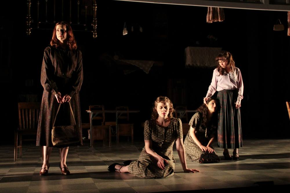 """These Shining Lives""  (Stoneham Theatre, Boston) Directed by Caitlin Lowans  Frances (Dakota Shepard), Charlotte (Kathryn Lynch), Pearl (Melis Aker) and Catherine (McCaela Donovan)"