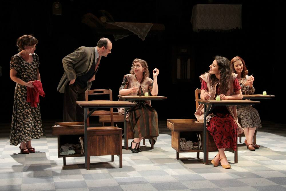 """These Shining Lives""  (Stoneham Theatre, Boston) Directed by Caitlin Lowans  Catherine (McCaela Donovan), Mr. Reed (Allan Mayo), Charlotte (Kathryn Lynch), Pearl (Melis Aker), and Frances (Dakota Shepard)"