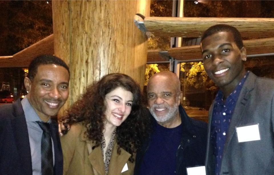 "Closing party for ""Love in Afghanistan"" at Arena Stage.  Charles Randolph-Wright, Melis Aker (Roya), Berry Gordy, and Khris Davis (Duke)"