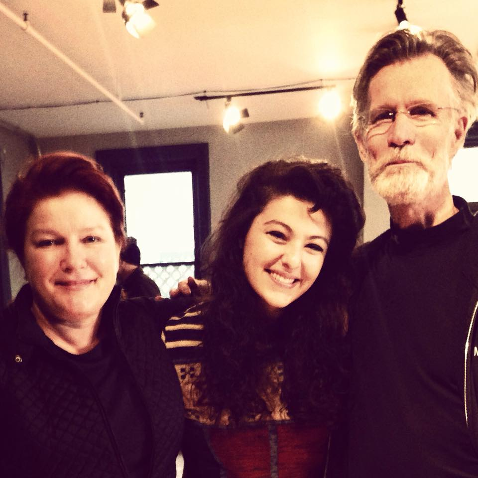 Behind the scenes for the 2014 Playtime readings at the New Dramatists, New York.  Kate Mulgrew, Melis Aker and Tom Nelis