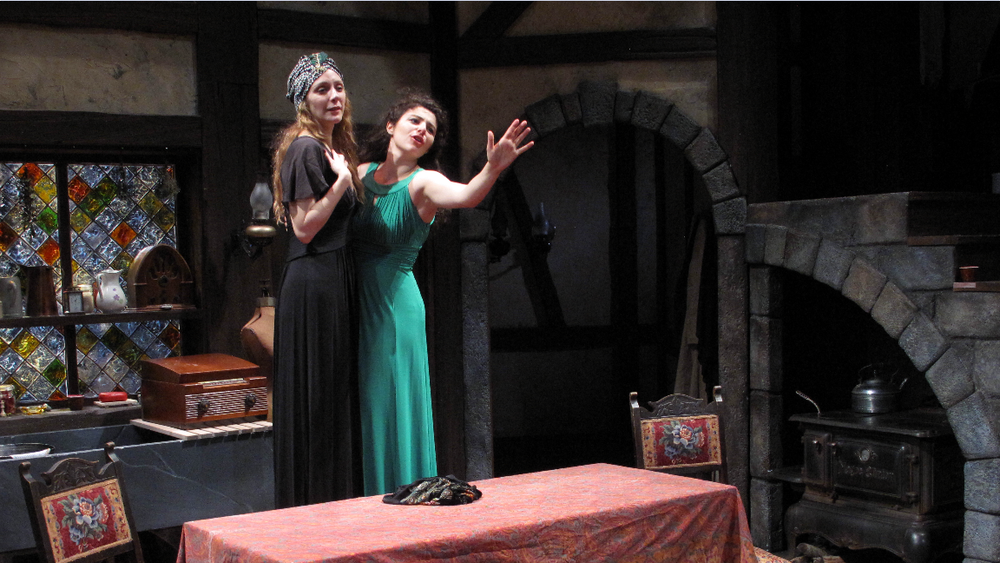 """I Capture the Castle""  (Stoneham Theatre, Boston) Directed by Weylin Symes  Topaz (Marianna Bassham) and Cassandra (Melis Aker)"