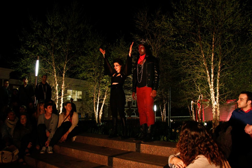 """Elektra""  (Tufts University, Independent, Outdoor Interactive) Directed by Charlie Laubacher and Justin Glieberman  Elektra (Melis Aker) and Orestes (Jay Dod)"