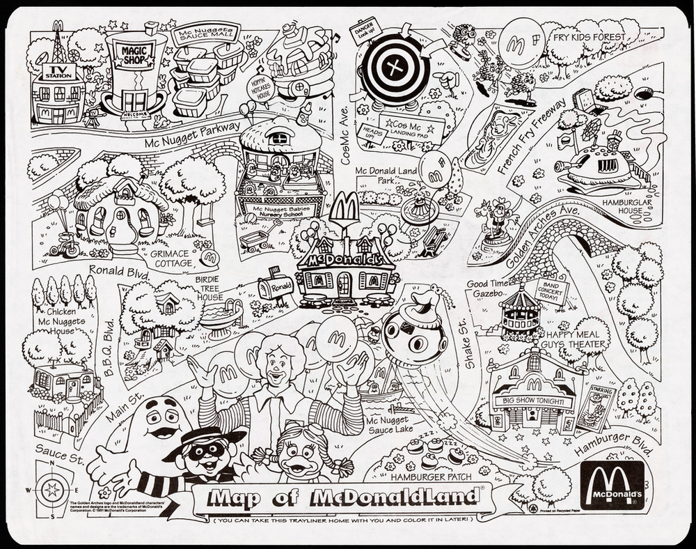 Map of McDonaldland Placemat