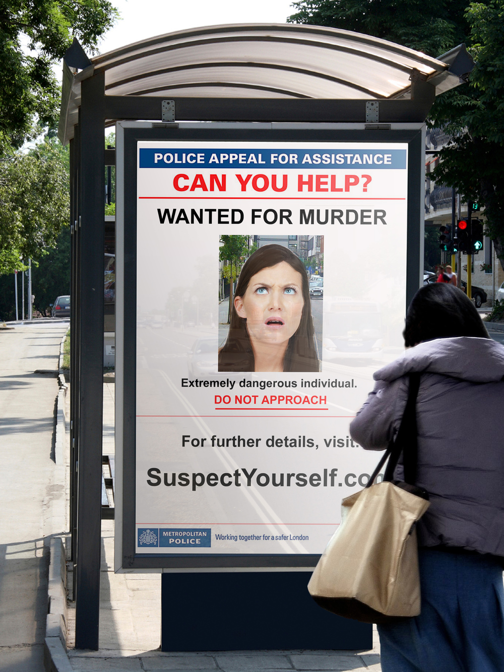 """A digital OOH display would superimpose your image into a Wanted poster, feeding into the campaign's tagline of """"Suspect Yourself"""""""