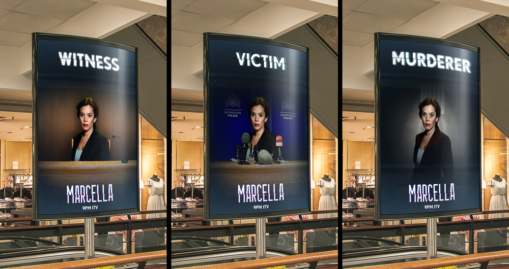 I designed this digital OOH display to glitch between the actress in three possible scenarios, to build curiosity about the programme and her role.