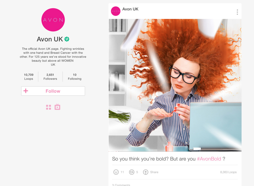 A mockup of the creative on Vine.