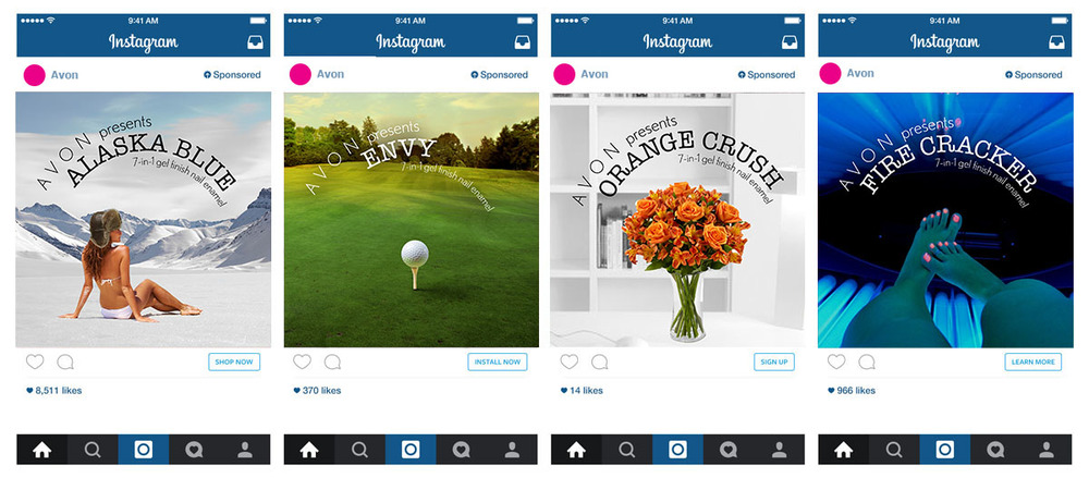 Examples of how the ads would look in Instagram